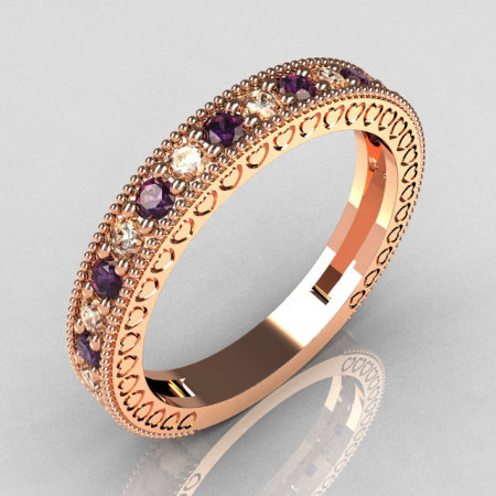 Lovables Luxury Collection 14K Rose Gold .27 ctw Diamond .24 ctw Amethyst Stackable Ring RB72-14KRGDAM-1