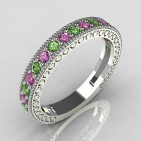 Lovables 950 Platinum .27 ctw Green and .24 ctw Lilac Amethyst Stackable Designer Ring RB72-PLATDLGA-1