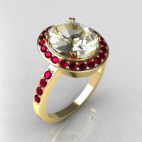 Victorian 14K Yellow Gold 3.0 CT CZ and 0.45 CTW Red Ruby Engagement Ring R72-14YGCZRR-1