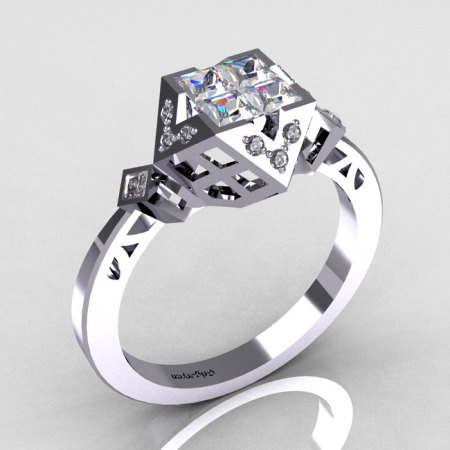 Classic Contemporary 950 Platinum .40 Princess Cut Invisible CZ Diamond Solitaire Azteca Ring R77-PLATDCZ-1