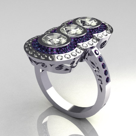 Elegant 14K White Gold 1.5 CTW Round Three Stone CZ and Alexandrite Engagement Ring R75-14WGCZAL-1