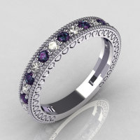 Lovables 950 Platinum .27 ctw Diamond .24 ctw Alexandrite Stackable Designer Ring RB72-PLATDAL-1