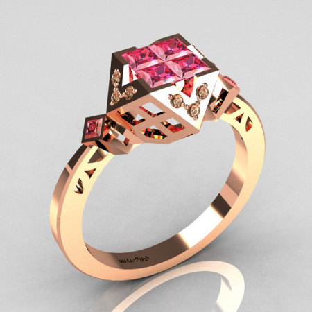 Classic Contemporary 14K Rose Gold .40 Princess Cut Invisible Rose Topaz Solitaire Azteca Ring R77-14RGCZRT-1