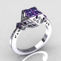 Classic Contemporary 950 Platinum .40 Princess Cut Invisible Alexandrite Pave Diamond Solitaire Azteca Ring R77-PLATDAL-1