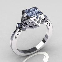 Classic Contemporary 950 Platinum .40 Princess Cut Invisible Topaz Pave Diamond Solitaire Azteca Ring R77-PLATDT-1