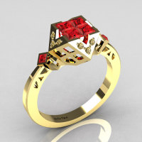 Classic Contemporary 18K Yellow Gold .40 Princess Cut Invisible Red Rubies Solitaire Azteca Ring R77-18YGCZRR-1