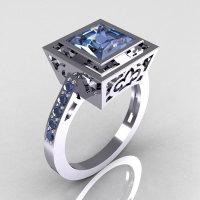 Contemporary French 950 Platinum 1.65 Carat Princess Cut Blue Topaz Bridal Ring R35-PLATBT-1