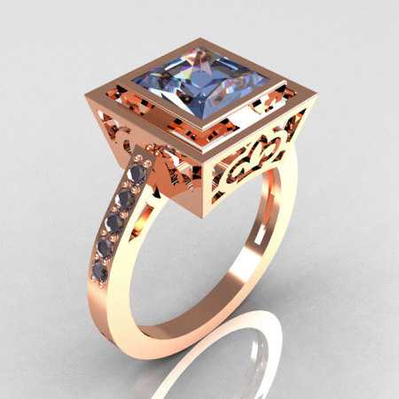 Modern Vintage 14K Rose Gold 1.65 Carat Princess Cut Blue Topaz Bridal Ring R35-14RGBT-1