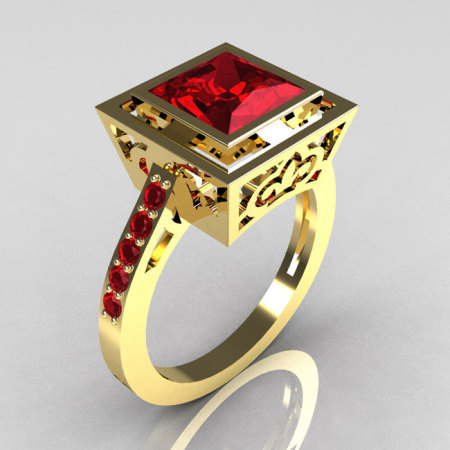 Modern French Vintage 18K Yellow Gold 1.65 Carat Princess Cut Red Garnet Bridal Ring R35-18YGRG-1