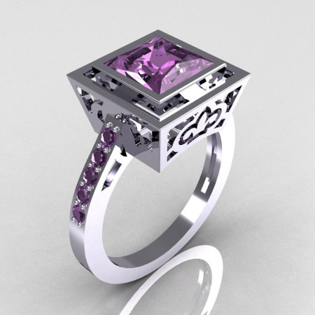 Modern French 950 Platinum 1.65 Carat Princess Cut Lilac Amethyst Bridal Ring R35-PLATLA-1