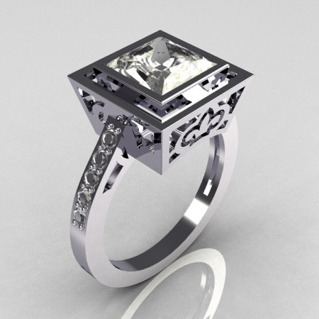 Contemporary French 14K White Gold 1.65 Carat Princess Cut CZ Bridal Ring R35-14WGCZ-1
