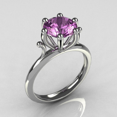 Modern 14K White Gold 1.75 Carat Round Lilac Amethyst Solitaire Ring R33-14WGLA-1