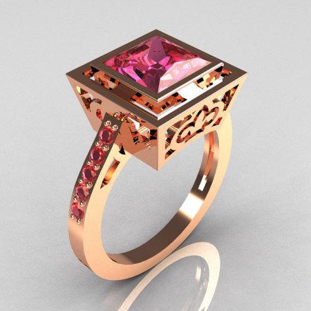 Modern Vintage 14K Rose Gold 1.65 Carat Princess Cut Rose Topaz Bridal Ring R35-14RGRT-1