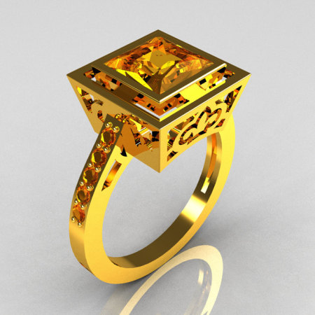 Modern French Vintage 22K Yellow Gold 1.65 Carat Princess Cut Yellow Sapphire Bridal Ring R35-22YGYS-1