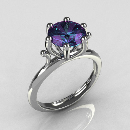 Modern 14K White Gold 1.75 Carat Round Alexandrite Solitaire Ring R33-14WGAL-1