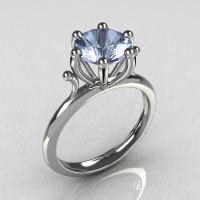 Modern 14K White Gold 1.75 Carat Round Blue Topaz Solitaire Ring R33-14WGBT-1