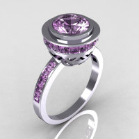 Modern Vintage 14K White Gold 1.50 Carat Round and 1.1 Carat Invisible Square Lilac Amethyst Bridal Ring R78-14WGLA-1