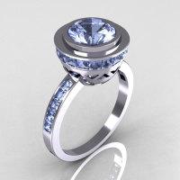 Modern Vintage 950 Platinum 1.50 CT Round and 1.1 CTW Invisible Square Blue Topaz Bridal Ring R78-PLATBT-1
