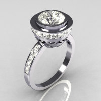 Modern Vintage 950 Platinum 1.50 CT Round and 1.1 Ctw Invisible Square CZ Bridal Ring R78-PLATCZ-1