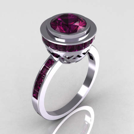 Modern Vintage 10K White Gold 1.50 Carat Round and 1.1 Carat Invisible Square Amethyst Bridal Ring R78-10WGAM-1