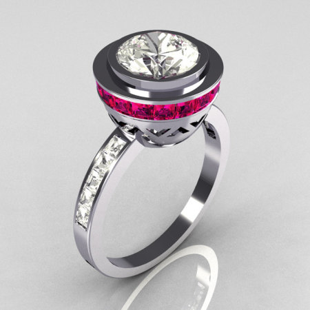 Modern Vintage 950 Platinum 1.50 CT Round CZ and .70 Ctw Invisible Square Pink Sapphire Bridal Ring R78-PLATCZPS-1