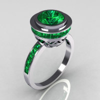 Modern Vintage 950 Platinum 1.50 CT Round and 1.1 CTW Invisible Square Emerald Bridal Ring R78-PLATEM-1