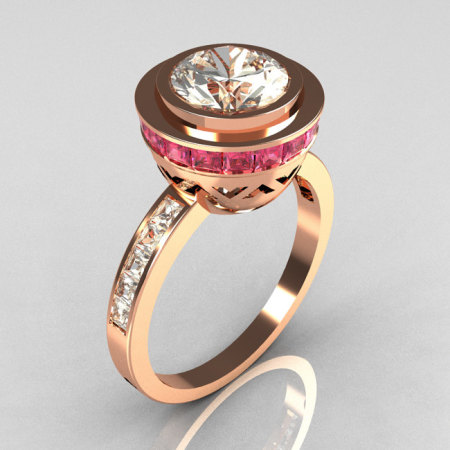 Modern Vintage 18K Rose Gold 1.50 CT Round CZ and .70 Ctw Invisible Square Rose Topaz Bridal Ring R78-18RGCZRT-1