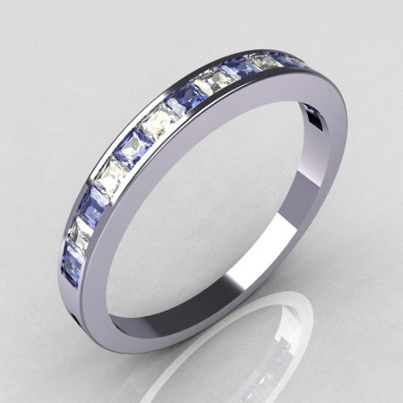 Contemporary 14k White Gold Princess Cut Diamond and Blue Topaz Stackable Cocktail Ring R79-14WDBT-1