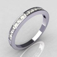 Contemporary 950 Platinum .60 CTW Princess Cut CZ Stackable Ring R79-PLATCZ-1