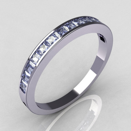 Contemporary 14k White Gold Princess Cut Blue Topaz Stackable Ring R79-14WBT-1