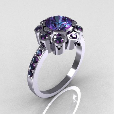 Modern Edwardian 950 Platinum 1.0 CT Round Alexandrite Engagement Ring R80-PLATAL-1