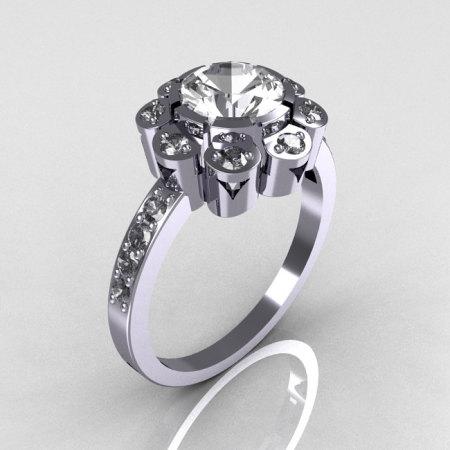 Modern Edwardian 950 Platinum 1.0 CT Round CZ Engagement Ring R80-PLATCZ-1