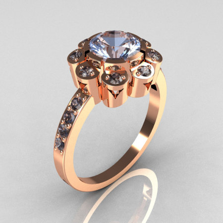 Modern Edwardian 14K Rose Gold 1.0 CT Round Blue Topaz Engagement Ring R80-14KRGBT-1