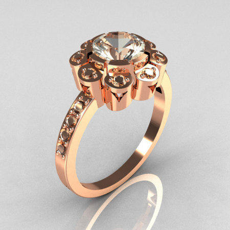 Modern Edwardian 14K Rose Gold 1.0 CT Round CZ Engagement Ring R80-14KRGCZ-1