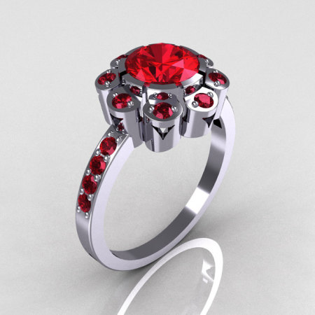 Modern Edwardian 14K White Gold 1.0 CT Round Garnet Engagement Ring R80-14KWGRG-1