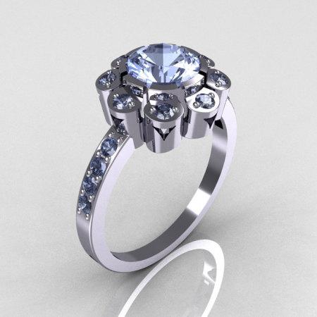 Modern Edwardian 14K White Gold 1.0 CT Round Blue Topaz Engagement Ring R80-14KWGBT-1