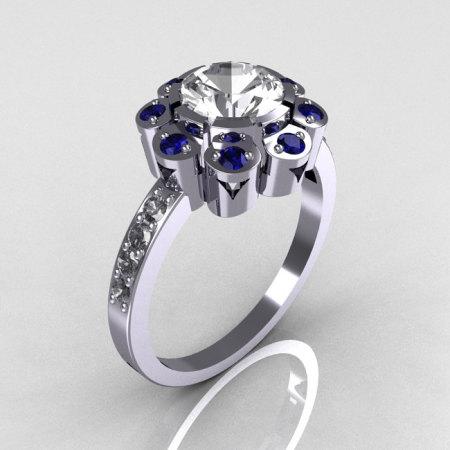 Royal Edwardian 950 Platinum 1.0 CT Round CZ Blue Sapphire Engagement Ring R80-PLATCZBS-1