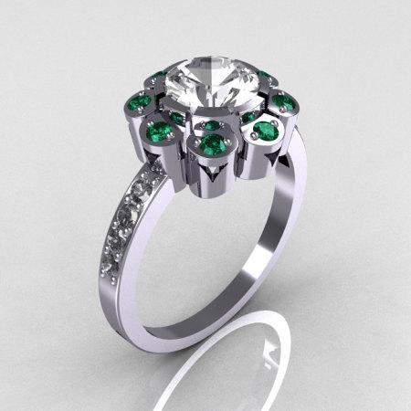 Royal Edwardian 950 Platinum 1.0 CT Round CZ Emerald Engagement Ring R80-PLATCZEM-1