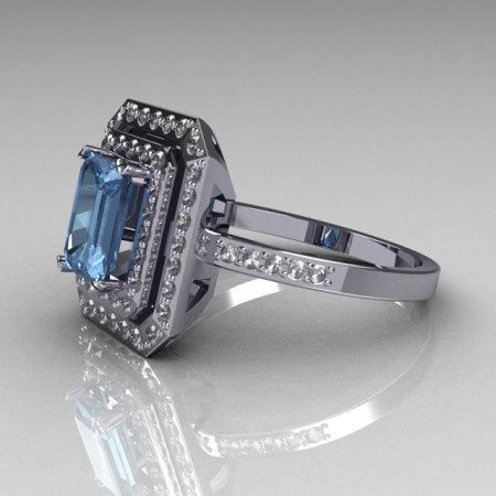 Modern 14K White Gold 1.0 CT Emerald Cut Blue Topaz 0.40 CTW Round Pave Diamond Double Halo Ring R83-14WGDBT-1