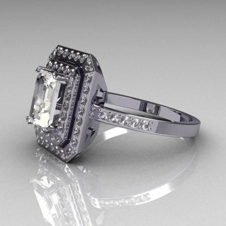 Modern Vintage 14K White Gold 1.0 CT Emerald Cut and Round Pave CZ Double Halo Ring R83-14WGCZ-1