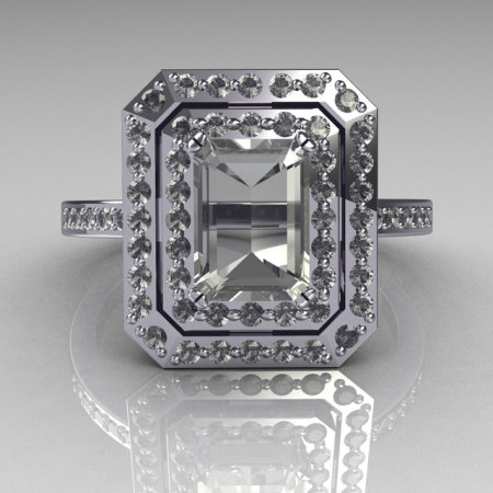 Modern Vintage 950 Platinum 1.0 CT Emerald Cut and Round Pave CZ Double Halo Ring R83-PLATCZ-1
