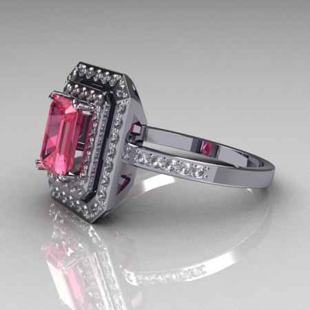 Modern 14K White Gold 1.0 CT Emerald Cut Rose Topaz 0.40 CTW Round Pave Diamond Double Halo Ring R83-14WGDRT-1