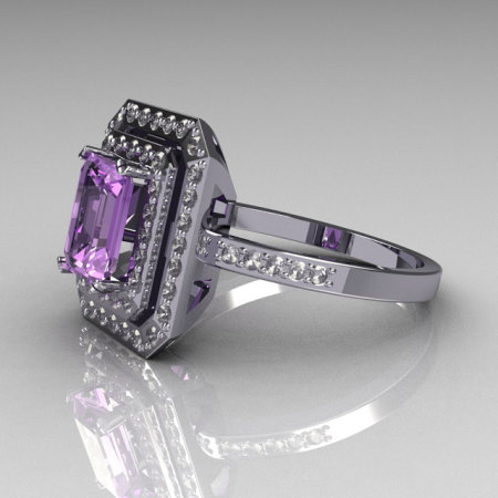 Modern 10K White Gold 1.0 CT Emerald Cut Lilac Amethyst Pave CZ Double Halo Ring R83-10WGLACZ-1