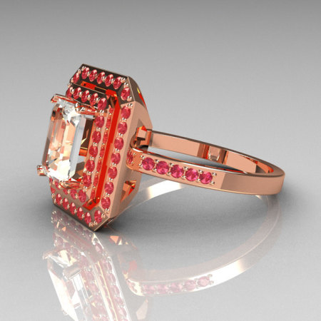 Modern 14K Rose Gold 1.0 CT Emerald Cut CZ Pave Rose Topaz Double Halo Ring R83-14RGRTCZ-1