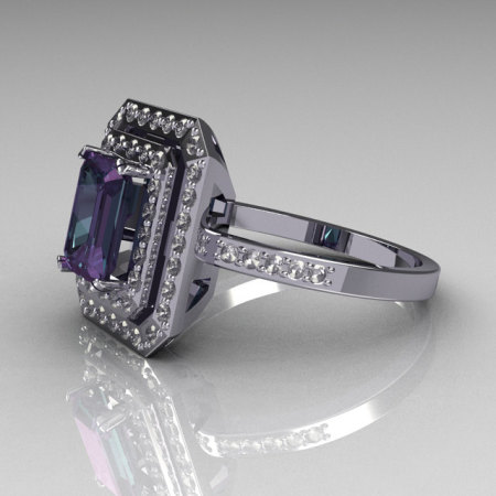 14K White Gold 1.0 CT Emerald Cut Alexandrite Round Pave Diamond Classic Double Halo Ring R83-14WGDDAL-1