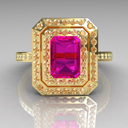 Royal 18K Yellow Gold 1.0 CT Emerald Cut Pink Sapphire Pave Diamond Double Halo Ring R83-18YGDPS-1