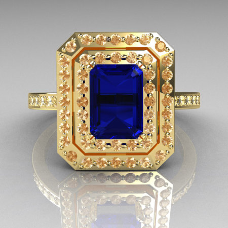 Royal 18K Yellow Gold 1.0 CT Emerald Cut Blue Sapphire Pave Diamond Double Halo Ring R83-18YGDBS-1
