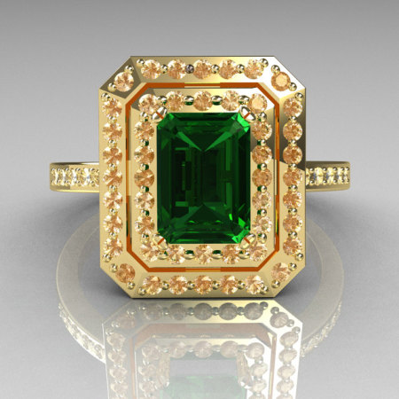 Royal 18K Yellow Gold 1.0 CT Emerald Cut Emerald Pave Diamond Double Halo Ring R83-18YGDEM-1