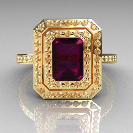 Royal 18K Yellow Gold 1.0 CT Emerald Cut Amethyst Pave Diamond Double Halo Ring R83-18YGDAM-1