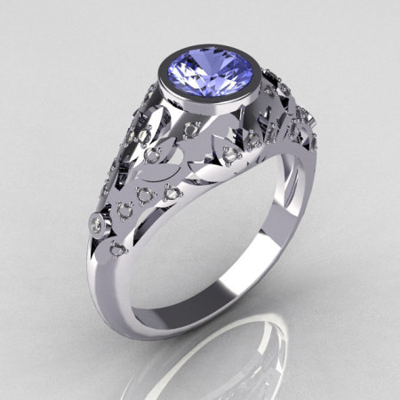 Classic French 14K White Gold 0.65 Carat Blue Topaz Pave Diamond Designer Ring R302-14WGDBT-1